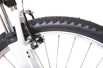 Wheel with tire of mountain bike, isolated