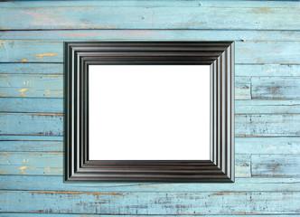Black Vintage picture frame on blue wood background