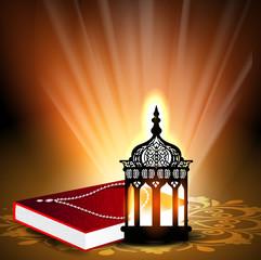 Intricate Arabic lamp with Quran or Koran Sharif. EPS 10..