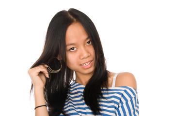 Girl shows earrings