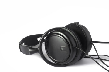 earphones on white background