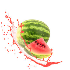 Mellon with slice and splash isolated on white