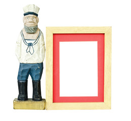 Wood frame and Old sailor toy