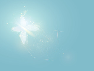 Fairy white butterfly / Blue magic background