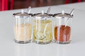 Various seasoning in glass for thai food