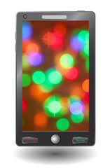 Simple vector smart phone with colorful abstract display