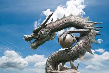 Wall Murals Dragons Chinese style Dragon statue on the blue sky field.