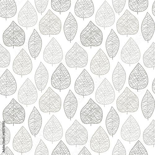 """Seamless stylish leaf pattern. Grey on white. Vector"