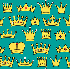 Seamless crown pattern on green background. Vector