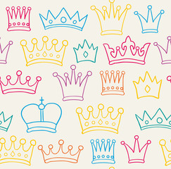Seamless color crown pattern. Vector