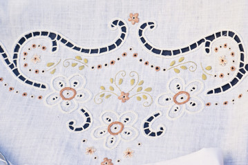 carved and embroidered cloth. handmade