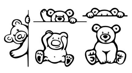 Silhouettes of funny bears.