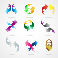 Set of arrow, cube and symbols for web design