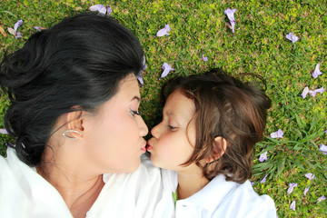 cheerful child with mother