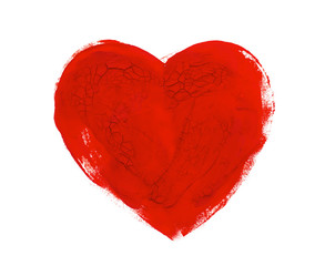 watercolor. Heart isolated on a white background