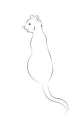 13 Katze Outlines Rücken sitzen Malbild