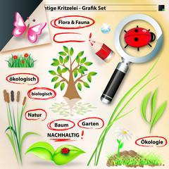grafik set - flora und fauna
