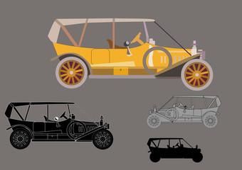 retro car vector set of vintage historical transport