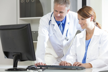 Male Female Hospital Doctors Using Computer