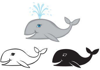 Set of images whale