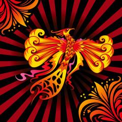 Mythical Phoenix or flaming bird, vector illustration