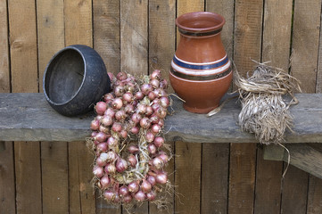 Still Life with jug, pot and onions