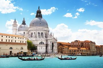 Poster Venetie Grand Canal and Basilica Santa Maria della Salute, Venice, Italy