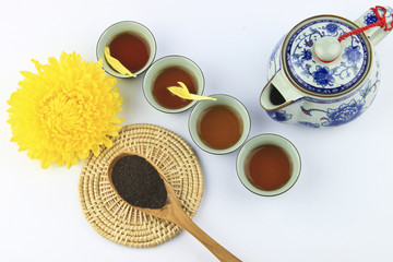 Tea set on white background