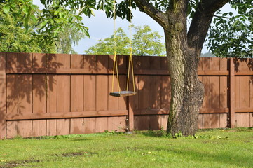 Swing on the tree in the garden