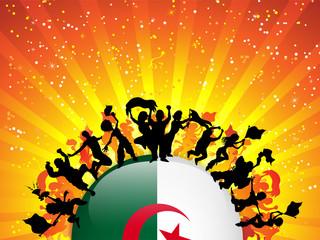 Algeria Sport Fan Crowd with Flag