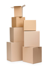 Two pyramids of boxes, isolated, white background