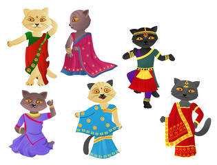 Deurstickers Katten Cats in a sari
