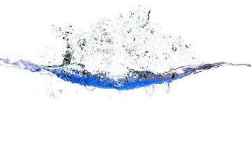 Splash of water of psychedelic blue colors on a white background