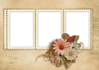 Elegant stamp-frames with autumn flowers