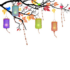 Vector Autumnal Background with lanterns