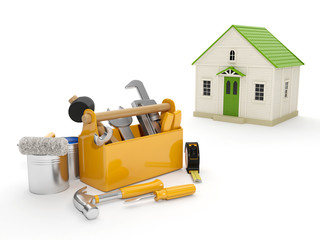 3d illustration: Repair and construction of the house. Tool box