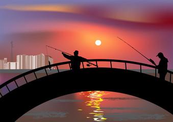two fishermen on bridge