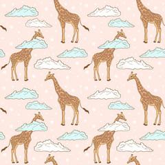 Cute giraffe in clouds seamless pattern