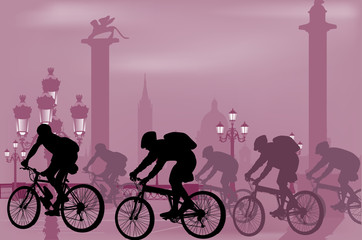cyclist silhouettes in city