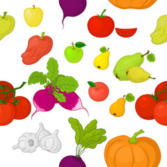 Vegetables and fruits, seamless background