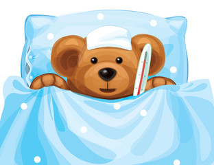 Vector of sick baby bear with thermometer in bed.