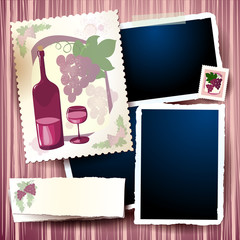 Wine and grapes, vintage background