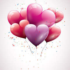 Valentine background with heart shaped balloons