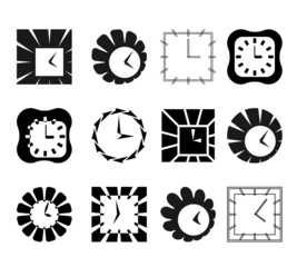 Set of graphic abstract clock symbols