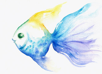 Blue fish watercolor painted
