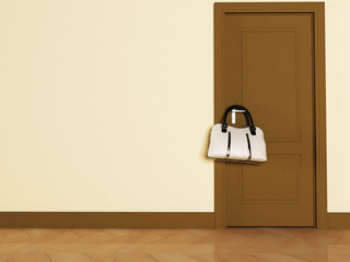 a door and a bag