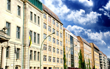 Row of Buildings in Berlin with dramatic Sky