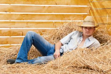 Cowboy on straw