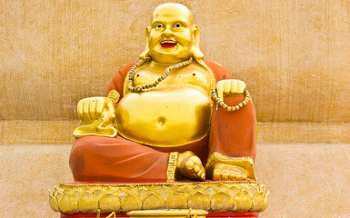 Smiling Golden Buddha Statue, Chinese God of Happiness,