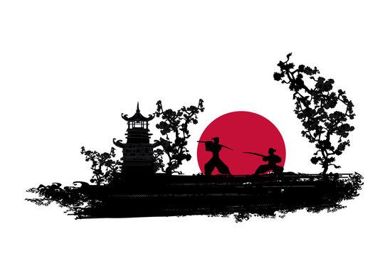 Japanese Samurai fighter silhouette